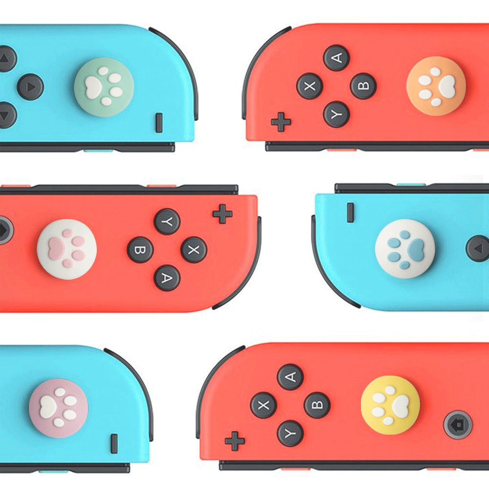 4PCS Cute Cat Paw Silicone Thumb Grip Cap For Nintendo Switch For JoyCon Controller Joystick Cap Cover