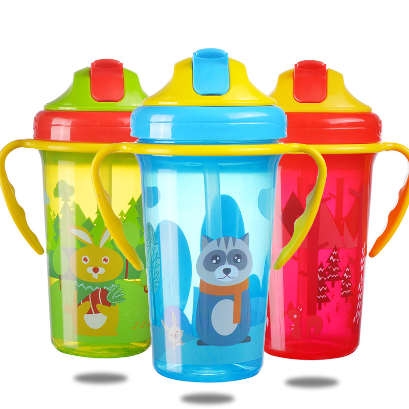 240ML Baby Feeding Cup With Straw Baby Drinking Bottles Infant Children Learn Drinking Dual Handles Straw Juice Slid Feeding