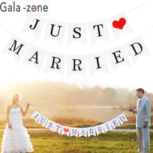 Gala-zone White Just Married Wedding Bunting Banner Photo Booth Props Romantic Party Paper Photobooth Decoration(China)