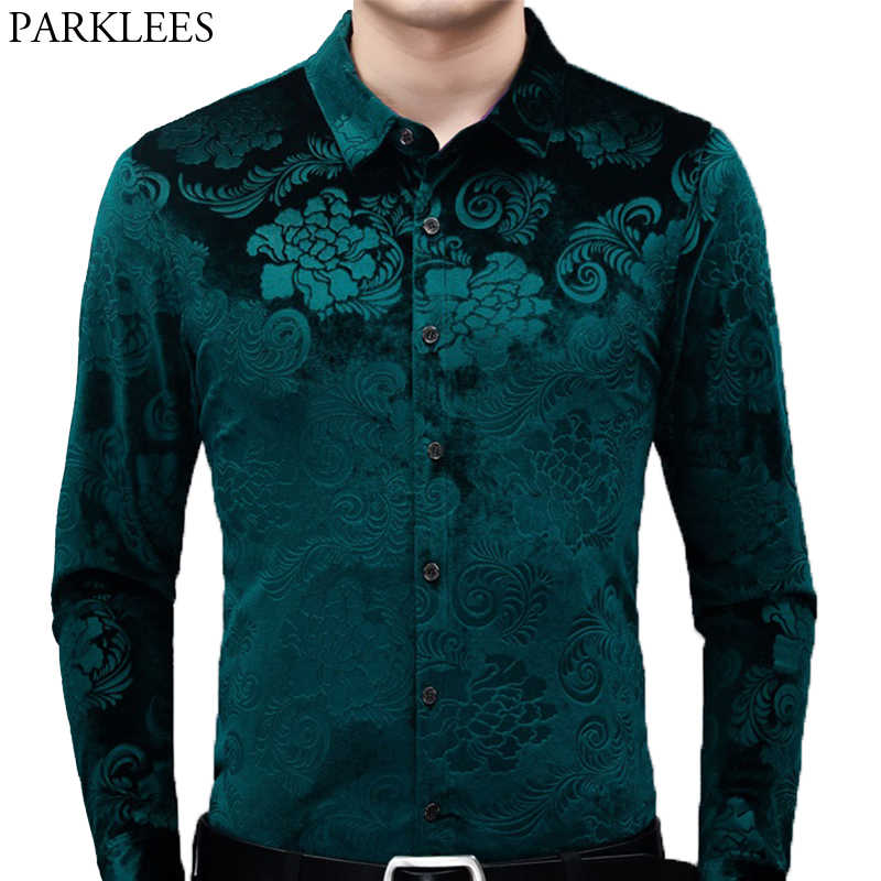 Mens Green Velvet Floral Dress Shirts 2020 Brand New Slim Fit Long Sleeve Velour Shirt Men Casual Button Down Shirt Male Camisas