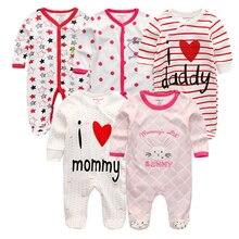 3/4/5 Stks/set 2020 Zachte Katoenen Baby Meisjes Rompertjes Overalls De Bebe Pasgeboren Kleding Lange Mouw Baby pyjama Infantis Jongen Kleding