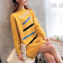 Korean Fashion Women Sweater Dress Woman Knitted Dresses Elegant Stretch Turtleneck Sweaters pullovers sweaters dresses Autumn Office Lady Striped sweater Straight dress