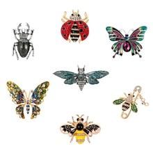Crystal Broochs For Women Cartoon Insect Butterfly Ladybug Enamel Pin  Skirt Suit Badges Jewelry Accessories france dyxytwe ladybug pink flower tassel luxury jewelry women gift enamel glaze jewelry