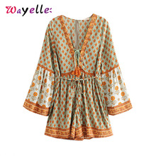 Boho Chic Summer Vintage Floral Print Sashes Playsuits Women 2019 Fashion V Neck Long Sleeve Tassel Beach Jumpsuits Body Tops
