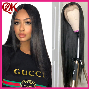 Queenking cabelo frente do laço perucas de cabelo humano para a mulher negra 130% densidade perucas frontal do laço brasileiro em linha reta remy cabelo preplucked