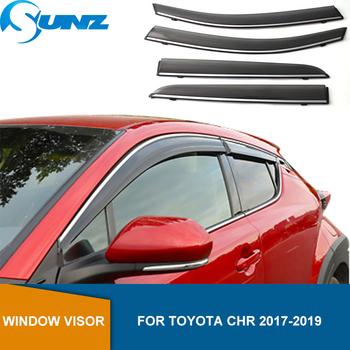 Deflektor boczna szyba dla Toyota Chr Izoa 2017 2018 2019 2020 osłona okienna osłona przeciwdeszczowa dla Toyota Chr 2019 SUNZ tanie i dobre opinie CN (pochodzenie) window visor for TOYOTA CH-R 2017-2020 Window Air Vent Visor Awnings shelters CHINA Manual chrome strip