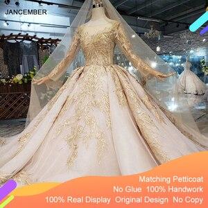 Image 1 - LS11555 di Lusso Abito Da Sposa con velo da sposa backless handmade champagne doro abito da sposa in pizzo abito da sposa con il treno lungo
