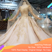 LS11555 lüks düğün elbisesi ile düğün duvağı backless el yapımı şampanya altın dantel gelin elbise gelinlik uzun tren ile