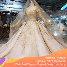 Ls11555 vestido de casamento de luxo com véu de casamento sem costas artesanal champanhe renda dourada vestido de noiva com trem longo
