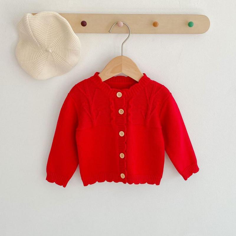 Wiosna jesień dziecko sweter dziergany sweter chłopcy dziewczęta jednorzędowe czerwone swetry odzież odzież dla dzieci Baby Boy ubrania