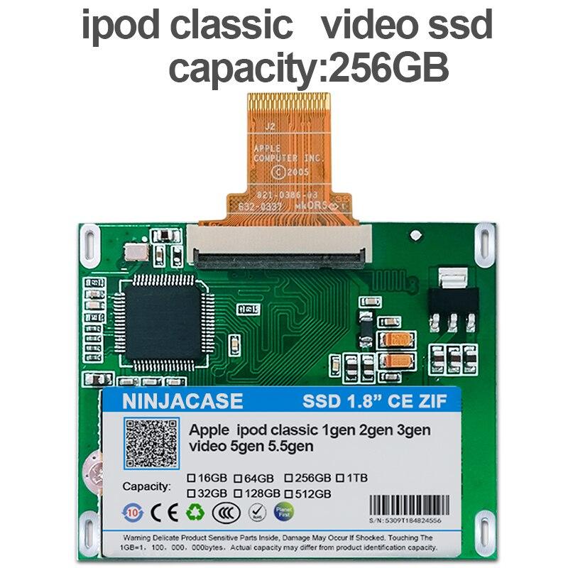 Ssd para Ipod Polegada Clássico 7gen Ipod Vídeo 5th Substituir Mk3008gah Mk6008gah Mk801gah Mk1634gal Hdd Disco Rígido 1.8 256 gb