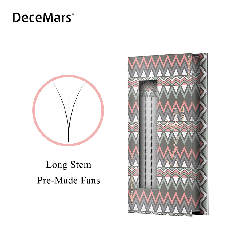 DeceMars Long Stem Pre Made Volume Fans Lashes 3d/4d/5d/6d Lashes Russian Volume Eyelash Extensions Pre-made Lash 16lines/Tray