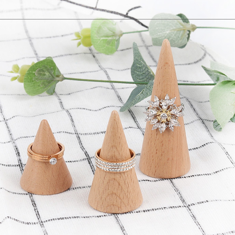 Upscale Boutique Wood Ring Jewelry Display Holder Cone Shaped Organizer Stand Support Finger Rack Bague Crafts Storage Showcase