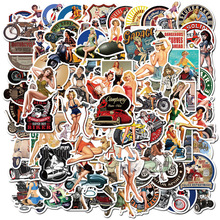 10/50/100pcs Retro Poster Motorcycle Girl Personality Sticker for Laptop Motorcycle Skateboard Luggage Decal Toy Stickers