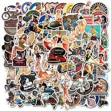 10/50/100 pçs retro cartaz da motocicleta menina personalidade adesivo para o portátil motocicleta skate bagagem decalque brinquedo adesivos