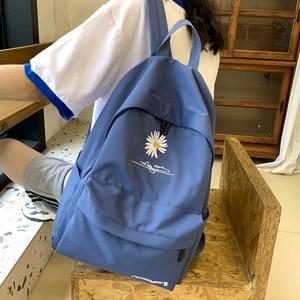 Image 1 - 2020 Solid backpack girl school bags for teenage College wind Women SchoolBag High student bag black nylon printing