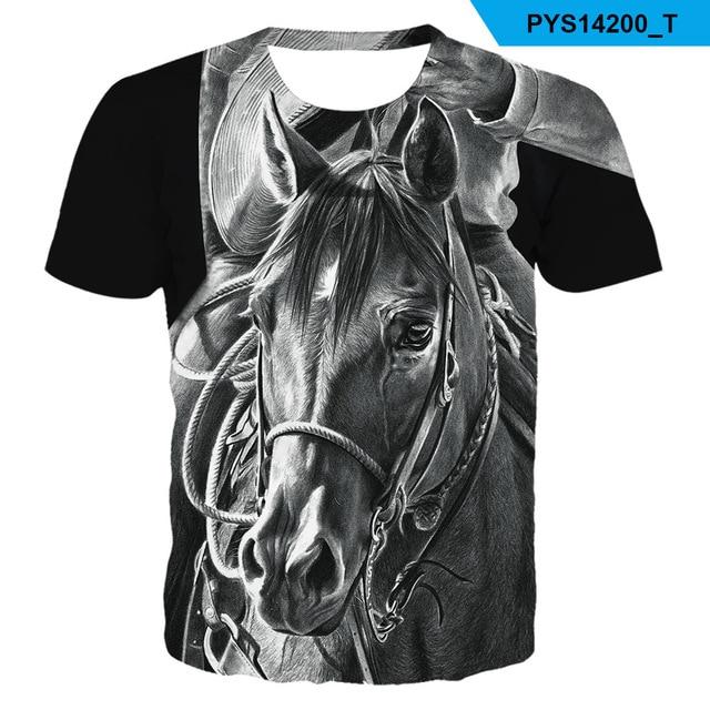 2021 Summer New kids boys O-neck Wearing a flower headband Horse T-shirt 3d Fashion T Shirt animal clothes Men Women Tshirt 2