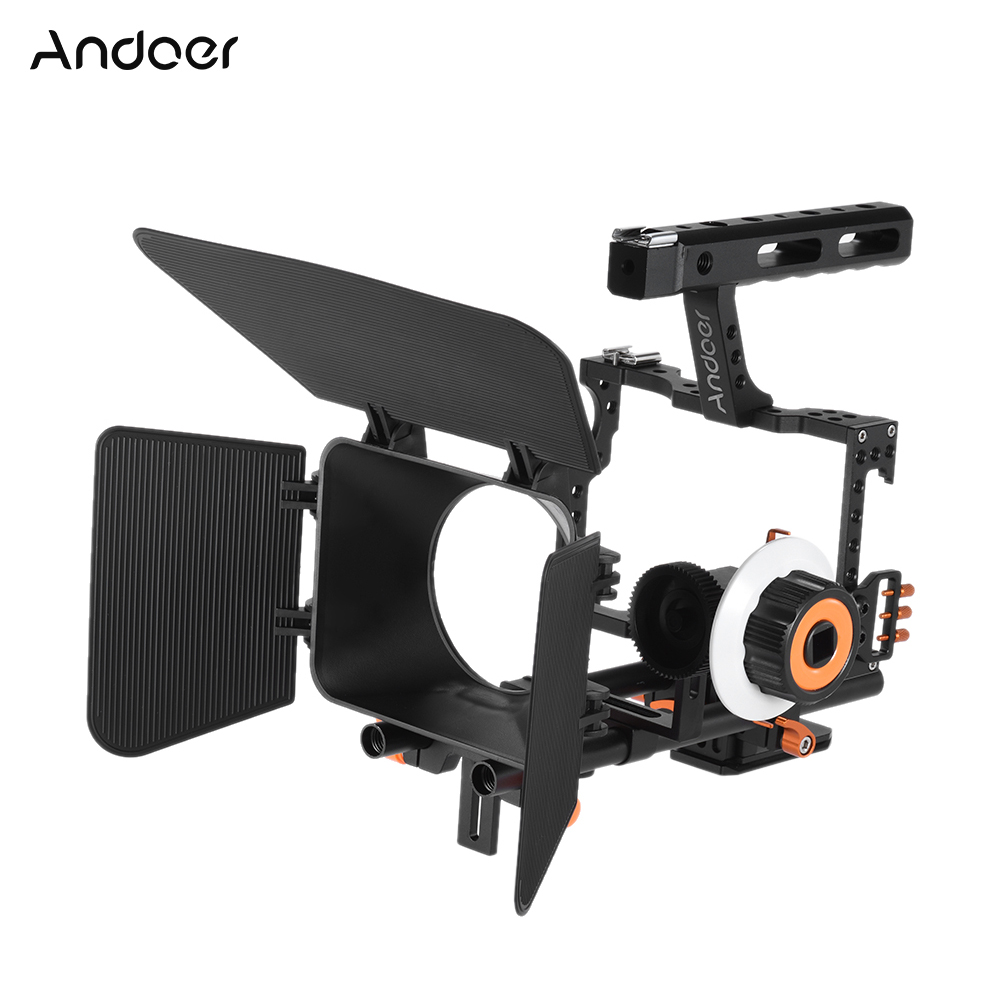 Andoer C500 Aluminum Camera Camcorder Video Cage Rig Kit w/ Matte Box + Follow Focus + Handle + 15mm Rod for Sony Panasonic GH4