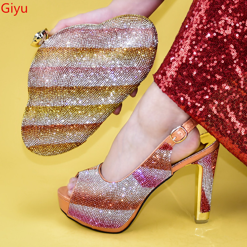 doershow new Shoes and Bag Set African Sets 2020 orange Color Italian Shoe Bag Set Decorated with Rhinestone High Quality!HMN1-8