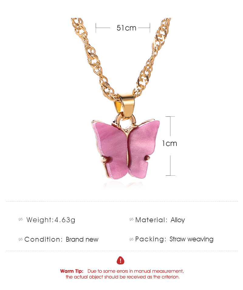 Korean cute acrylic color butterfly necklace for women long wild clavicle chain pendant refined stylish mujer gift