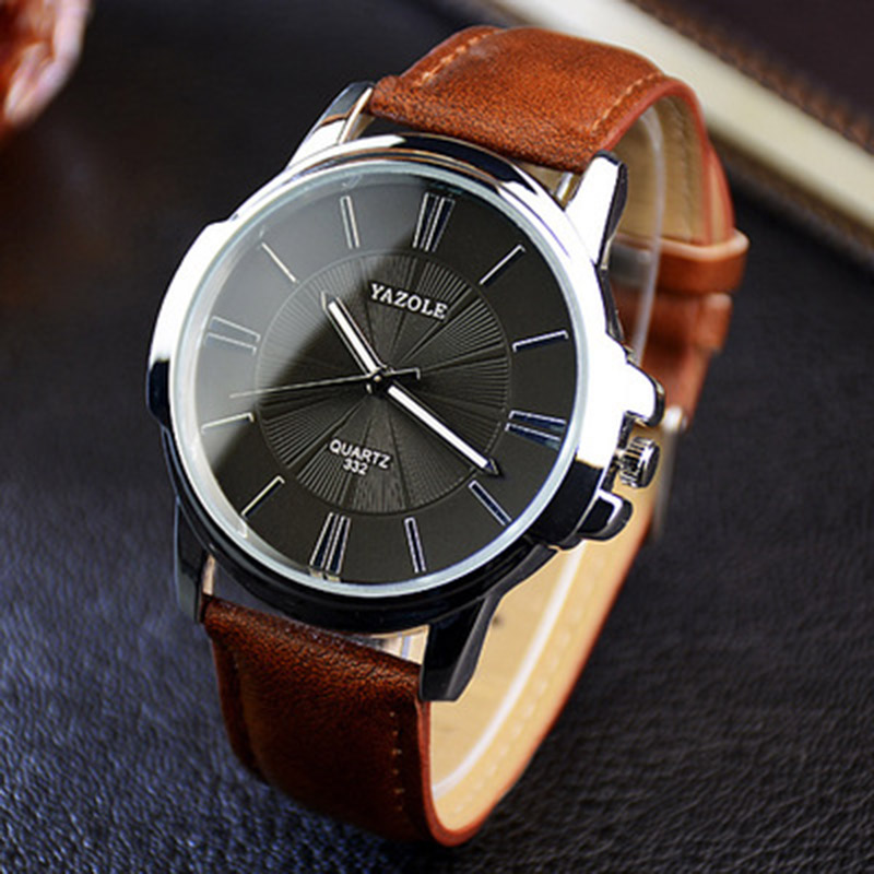YAZOLE Brand Fashion Men Dress Watches Brown Leather Strap Casual Watch Men Relogio Luxury Waterproof Reloj Hombre Drop Shipping