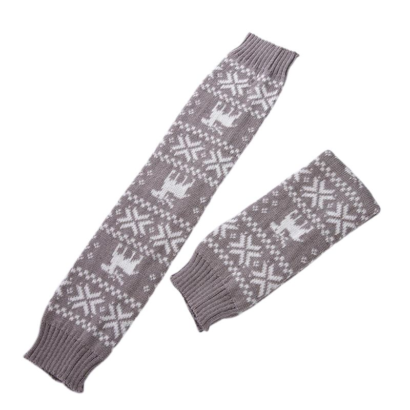 Women Girl Christmas Crochet Knit Long Leg Warmers Reindeer Snowflake Jacquard Over Knee Thigh High Cover Boot Socks With Ribbon