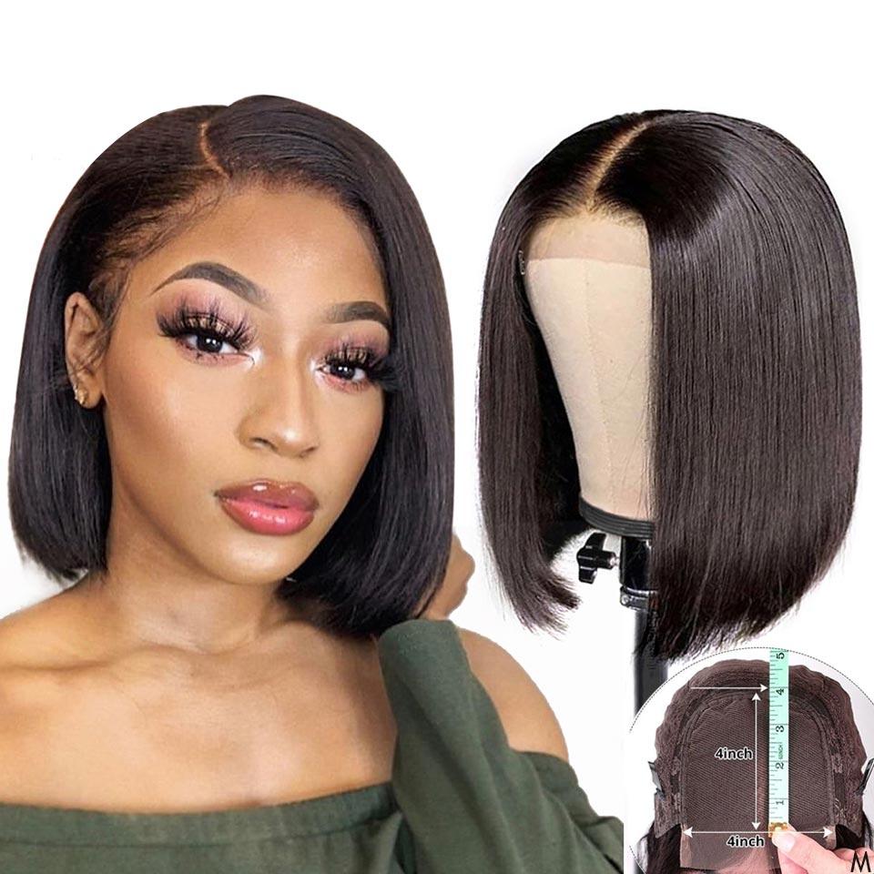4x4 Remy Bob Short Closure Wigs Glueless For Black Women Lace Closure Human Hair Wig Straight Brazilian Hair With Baby Hair 150%