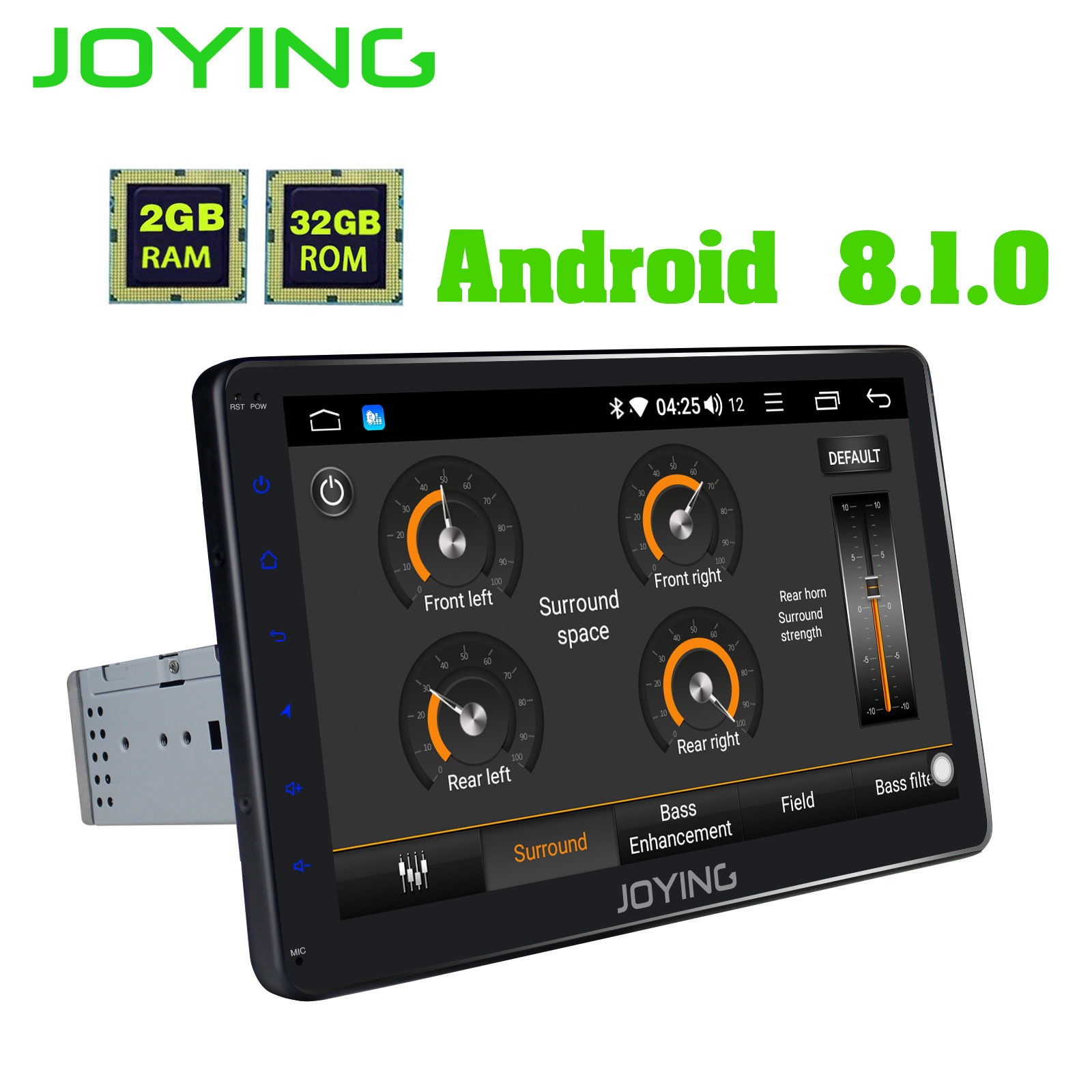 JOYING 2GB RAM 32GB ROM single 1 din 10 inch 8 Core Android 8 1 Car