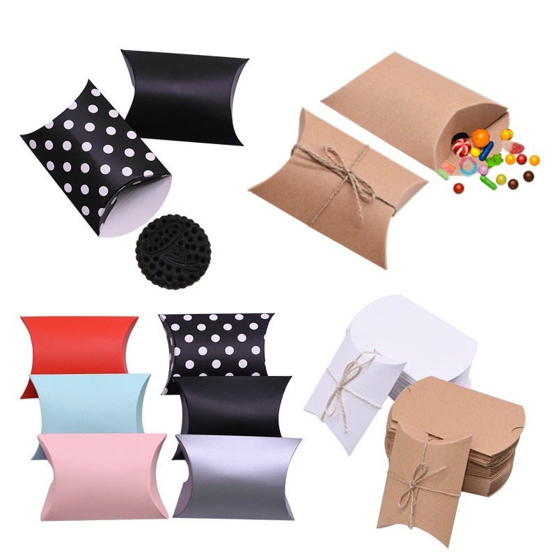 10/20/30/50pcs Kraft Paper Candy Boxes Cute Mini Pillow Cardboard Gift Box For Birthday Wedding Gifts Favor Packing Party Decor