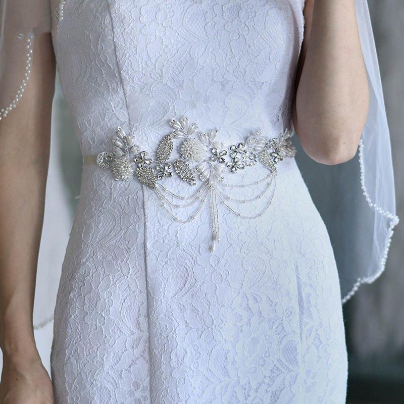 Handmade Beaded Applique Vintage Waist Belt Belly Chain Wedding Bridal Belt Sashes For Bridesmaid Bride Dangle Tassel Jewelry