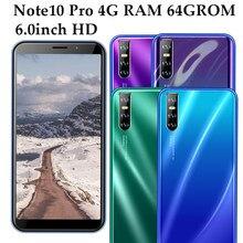 Note10 Pro Мобильный телефон Android 2sim MTK 4G RAM 64G ROM четырехъядерный разблокированный смартфон 13 МП HD камера 6,0 дюймов большой экран