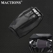 Черный Защитный чехол для мотоцикла, воздушный фильтр, тяжелый Воздухопроницаемый дождевой носок для Harley Sportster Touring Dyna, комплекты воздухооч...