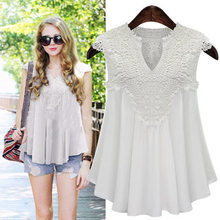 Fashion Summer Women Solid Color Tops Sexy V Neck Sleeveless Shirt Lace Splice Lady Girl Casual Blouse Plus Size M-5XL N(China)