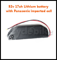52v 17ah Lithium battery with Panasonic imported cell
