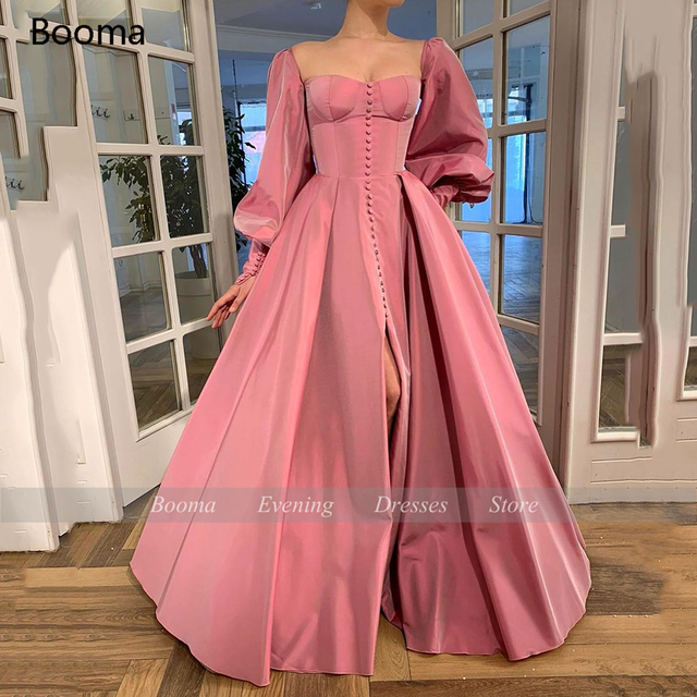 Booma Elegant Pink Prom Dresses Bishop Sleeves High Slit Taffeta Evening Dresses Sweetheart A-line Long Party Gowns with Buttons 5