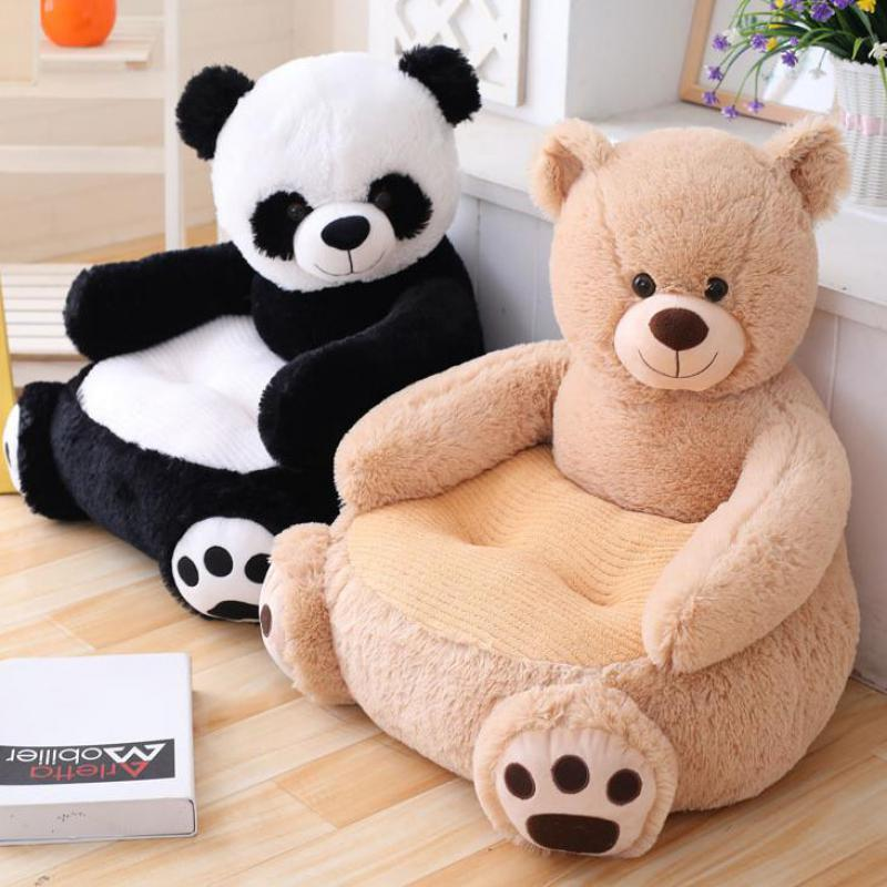 (Only Sofa Cover)Cartoon Kids Plush Seats Sofa Comfortable Animal Bear Panda Baby Portable Chair Sofa Gifts For Children