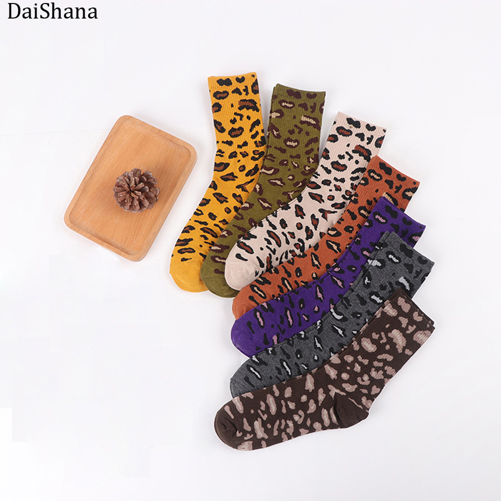 DaiShana Harajuku New Women Socks Leopard Grain Elegant Socks Long Loose Sock Autumn Winter Korea Their Leisure Sock Hot Selling