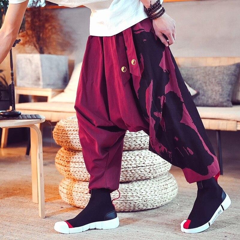 Chinese Style Cotton Linen Printed Hip-Hop Cross Pants Mens Joggers Pants Japanese Style Suspender Pants Radish Trousers KK3187