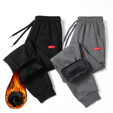 Inverno Quente Algodão Sweatpants Homens Streetwear Calças Lápis Casuais Calças Dos Homens De Linho Comprimento Total Calças de Cordão Para Homens 4XL