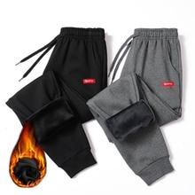 חורף חם כותנה מכנסי טרנינג גברים Streetwear מכנסיים מקרית עיפרון פשתן Mens מכנסיים מלא אורך שרוך מכנסיים לגברים 4XL