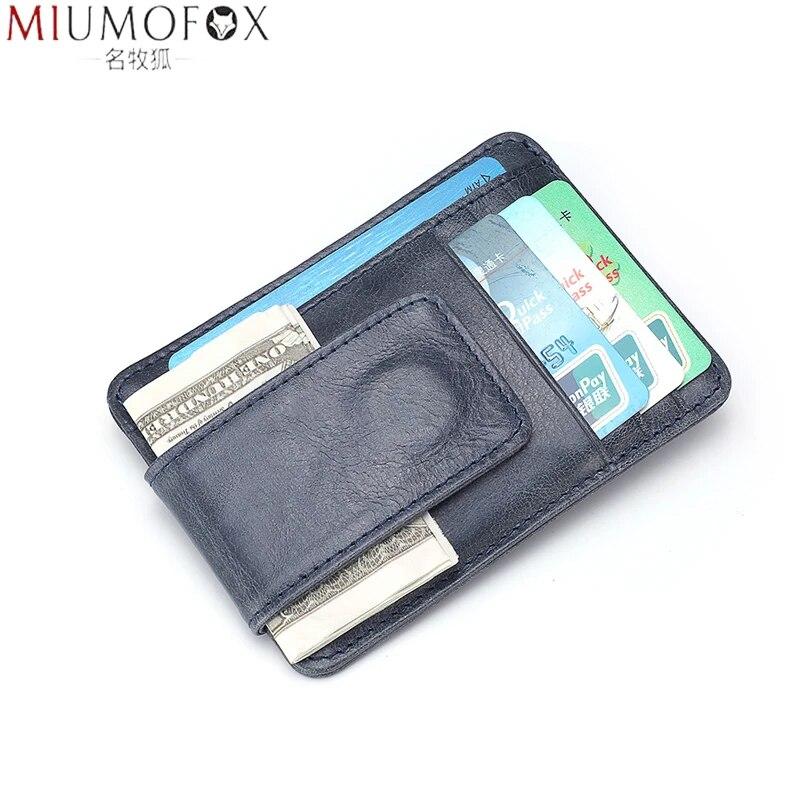 Blocking Genuine Leather Man Wallet Minimalist Ultrathin Mens Money Clip Front Pocket Slim Short Wallet