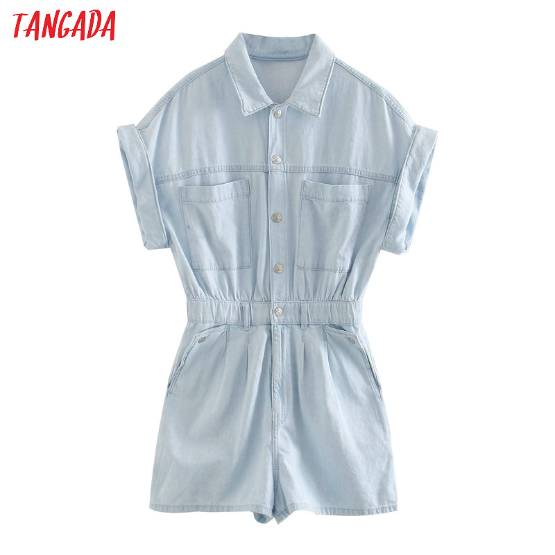 Tangada 2020 Summer Women Vintage Blue Denim Playsuits Short Sleeve Rompers Ladies Casual Chic Jeans Jumpsuits 3L38