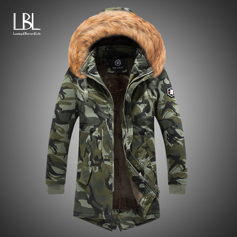 2019 New Mens Camo Parka Camouflage Jacket Winter Hooded Velvet Thick Windproof Coat Men Warm Male's Medium-long Military Parkas