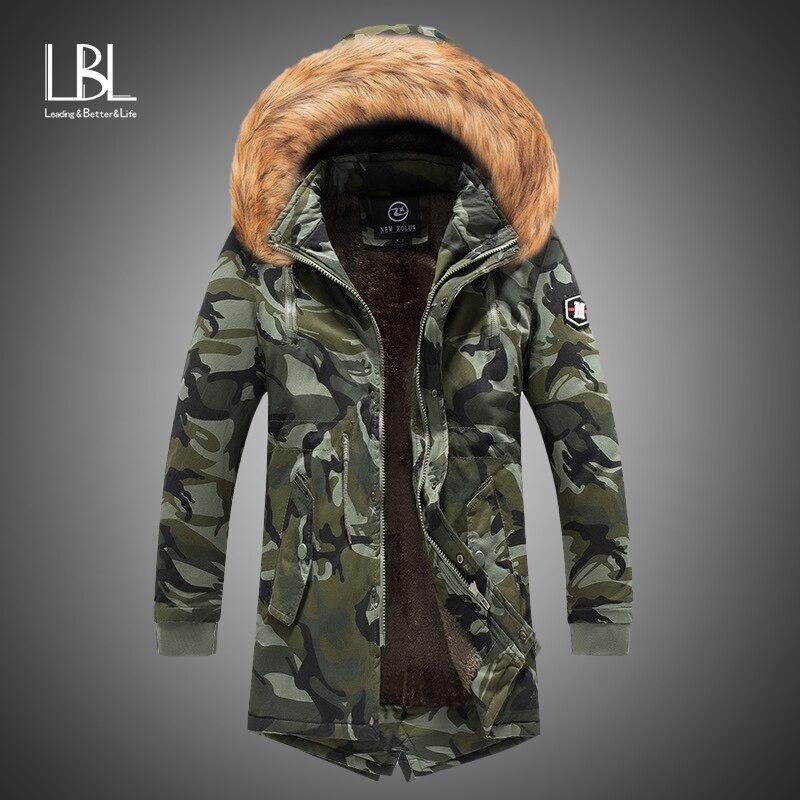2019 New Mens Camo Parka Camouflage Jacket Winter Hooded Velvet Thick Windproof Coat Men Warm Male's Medium-long Military Parkas