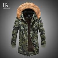 2019 New Mens Camo Parka Camouflage Jacket Winter Hooded Velvet Thick Windproof Coat Men Warm Male's Medium long Military Parkas
