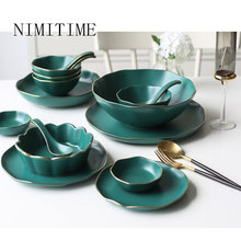 NIMITIME Japanese Style Retro Western Food Phnom penh Ceramic TablewareHousehold Plate Steak Dish Rice Bowl Tableware