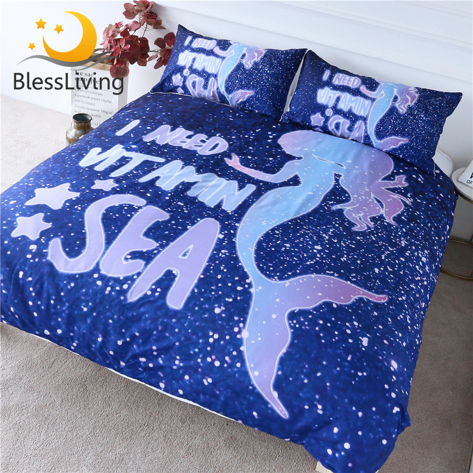 BlessLiving Girls Mermaid Bedding Set Cartoon Duvet Cover For Kids Blue Bedspreads Marine Creature Home Textiles 3-Piece King