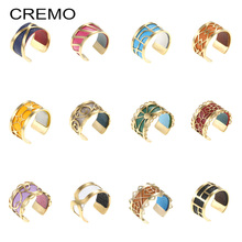 Cremo Colorful Sainless Steel Ring Bijoux Interchangeable Leather Adjustable Bague Femme Gold Reversible Rings