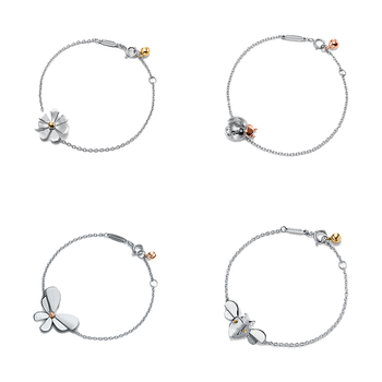 Sterling Silver S925 Bracelet Love Bug series fashion Flowers and butterflies Jewelry Women 1:1 Luxury brands Logo Holiday gift men and women wear gorgeous retro double letter opening bracelet adjustable s925 sterling silver jewelry luxury brands logo gift