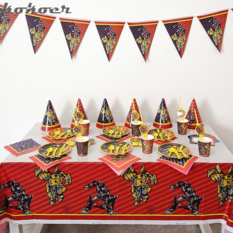 Детский набор для вечеринки бамбель-трансформер Optimus Prime мальчик любит одноразовую посуду украшения для дня рождения